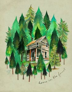 Home in the Forest Cabin Painting Watercolor Wall Art Illustrations, Illustration Art, Daisy Art, Forest Cabin, Watercolor Walls, Watercolor Projects, Watercolor Ideas, Permaculture Design, Acrylic Artwork