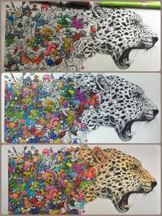 Cheetah from Animorphia coloring book, illustrated by Kerby Rosanes