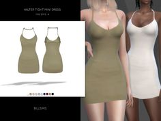 """simsway: """" Halter Tight Mini Dress (TS4) • Female, Teen-Elder • Custom shadow map • HQ mod compatible • Everyday/Formal/Party • 10 different colour variations • Mesh by Ekinege (included) • CAS..."""