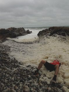 """""""While out for a run with my brother Ross, he decided to make foam angels in good Christmas spirit at Portmahomack lighthouse"""", said Katrine Black."""