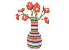 large handmade crochet flower vase