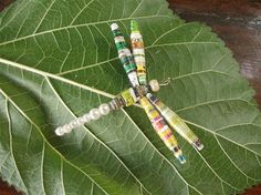 Dragonfly Dragonfly Paper Bead Pendant by neduk on Etsy