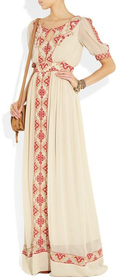 ALICE by Temperley - Beatrice embroidered crepe maxi dress Hippie Style, Ethno Style, Bohemian Style, Boho, My Style, Folk Style, Pretty Outfits, Beautiful Outfits, Moda Popular