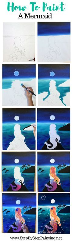 Step by step painting picture instructions. How to paint a mermaid. This night time seascape painting has dolphins, palm trees, a heart constellation, a full moon and sparking turquoise Caribbean water. FREE traceable and video included!