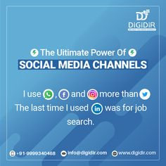 If you were able to read this sentence completely, then it suggests how strong these Social Media Channels are! Social media is the best way to communicate with your potential customers online. Let DIGIDIR help you reach the right audience. Contact us today at +91-9999340468 or info@digidir.com Power Of Social Media, Social Media Channels, Digital Marketing Services, Social Media Marketing, Ways To Communicate, Job Search, Growing Your Business, Sentences, Branding