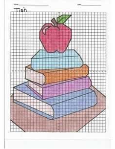 4 Quadrant Coordinate Graph Mystery Picture, Tish Stack of Books with an Apple - Mathe Ideen 2020 Drawings On Lined Paper, Graph Paper Drawings, Graph Paper Art, Cross Stitch Designs, Cross Stitch Patterns, Apple Picture, Math Work, Graph Design, Drawing Practice