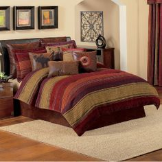 want to decorate log home with the colors in this bedroom comforter tans brown & red and brown bedroom decorating ideas | My Web Value
