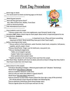 1st day Procedures checklist