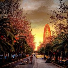 Making a stroll with the dog in Barcelona with amazing backgrounds like Torre Agbar