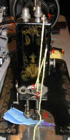 Threading diagram for a White Rotary Treadle. White Rotary Sewing Machine, Sewing Machine Repair, Sewing Machine Projects, Treadle Sewing Machines, Antique Sewing Machines, Quilt Design, Quilting Designs, Fabric Bowls, Old Tools