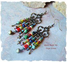 Rustic Boho Tribal Gypsy Earrings Bohemian Jewelry Found Objects Nature Inspired Earrings Boho Style Me Kaye Kraus