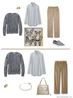 combining warm and cool colors - 2 outfits