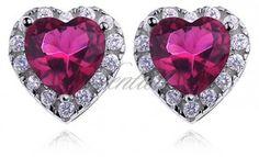 Srebrne kolczyki pr925 Cyrkonia rubinowa - serca - Biżuteria srebrna dla każdego tania w sklepie internetowym Rejel