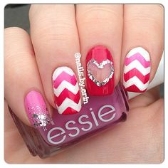 This is one of my favorite designs of mine. I love all the pink, the chevron, and the heart. This was featured in the January/February 2014 issue of Nail It! Funky Nails, Love Nails, Pretty Nails, My Nails, Heart Nail Art, Heart Nails, Valentine Nail Art, Instagram Nails, Nail Manicure