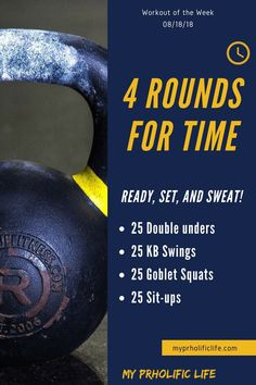 During this workout of the week you can practice your double unders and get a good burn in with kettlebell swings and goblet squats. Crossfit Workouts At Home, Kettlebell Cardio, Kettlebell Training, Kettlebell Swings, Hiit, Fun Workouts, Kettlebell Benefits, Kettlebell Challenge, Kettlebell Routines