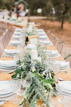 Trestle Table Wedding Breakfast - Wedding Party | Maria Rão Photography | Outdoor Destination Wedding | Luz Houses Portugal Venue | Green Colour Scheme | UHMA Store Wedding Dress