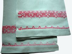 Swedish embroidery huck towels kitchen tea by PinstripeVintage, 25.00