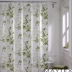 The Zen Garden shower curtain showcases a tropical green bamboo design for a natural, relaxing look.  This curtain is designed for use with any standard shower curtain rod with rings or hooks.