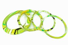 MOD Bangle Bracelet Set Psychedelic Swirls Lime Green 60s Fashion