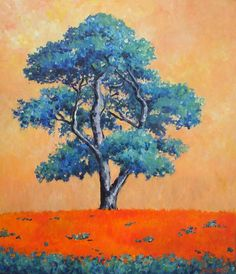 """Saatchi Online Artist: john dimech; Acrylic, 2013, Painting """"Blue tree sunrise""""  Note: I like how John Dimech uses variations of just two colors in this painting! This is a good example of how beautiful a painting can be with a limited color palette."""
