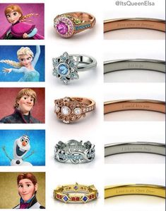 Frozen inspired engagement rings. But who is crazy enough to want the Hans one??