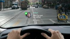 The #Navdy system (still under development) takes on-screen displays to the next level by projecting incoming text messages and calls onto your car's windshield. The system syncs wirelessly to your smart phone allowing you to then use gestures and/or voice recognition to respond. Check out the concept video: http://goo.gl/0RYUNQ