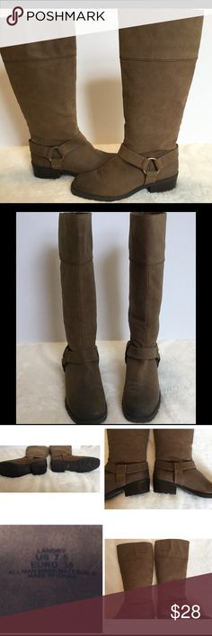 Women's tall boots 7.5 natural suede Landry These boots are in excellent condition already have been waterproofed.  Two very minor surface scuffs see pics priced accordingly.  Length measures approx. 16 inches from bottom of heel to top of boot.  Heel measures approx. 2 inches and shaft measures approx. 7.5 inches.  Buy with confidence I am a top rated seller, fast shipper, and mentor.  Don't forget to bundle and save. Landry Shoes Heeled Boots