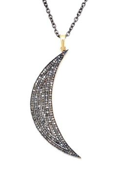 Pave Champagne Diamond Crescent Moon Necklace - 1.07 ctw by Jewels By Lori K on @HauteLook