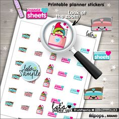 Change Sheets Stickers, Printable Planner Stickers, Bed Stickers, Erin Condren, Kawaii Stickers, Bed Stickers, Planner Accessories, Clean Up