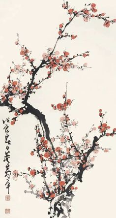 Chinese Painting Flowers, Japanese Painting, Chinese Drawings, Chinese Art, Buff Bagwell, Cherry Blossom Drawing, Samurai Artwork, Nature Sketch, Korean Art