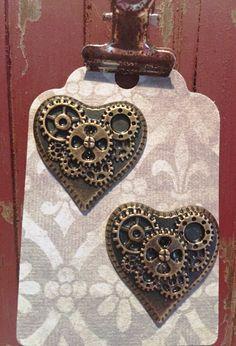 Antique bronze trendy Steampunk earrings on by RockinRobinsBling