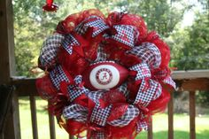 Shop for wreath on Etsy, the place to express your creativity through the buying and selling of handmade and vintage goods. Alabama Football Wreath, Alabama Wreaths, Roll Tide, Deco Mesh, 4th Of July Wreath, Christmas Wreaths, Spirit, Fan, Holiday Decor