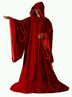 red hooded cape loving it