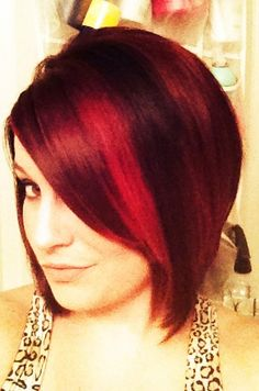 Red hair and angled bob