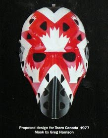 Proposed goalie mask for Team Canada 1977 Hockey Helmet, Hockey Goalie, Ice Hockey, Olympic Hockey, Hockey Logos, Goalie Mask, Masked Man, Edmonton Oilers, Hockey Cards