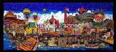 "Atlantic City Pier, mixed media pop art by Charles Fazzino. (50"" x 21"") #popart #3dpopart #atlanticcity #NewJersey"