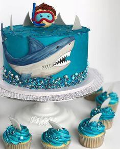 Shark buttercream cake - Joseph's - Cake-Kuchen-Gateau Shark Birthday Cakes, Cookie Cake Birthday, Birthday Desserts, Birthday Cake Decorating, Birthday Cupcakes, Birthday Kids, Themed Birthday Cakes, Birthday Decorations, Buttercream Cake