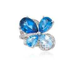 Ross-Simons Tonal Blue Topaz, Diamond Cluster Ring. Size 7, 10.50ct... (222985 DZD) ❤ liked on Polyvore featuring jewelry, rings, round diamond cluster ring, ross simons jewelry, ross simons rings, birthday rings and blue topaz jewelry