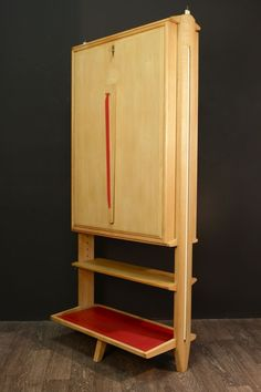 For Sale on - Bureau in steps of Maurice Pre and Janette Laverrière 1958 in blond oak embellished with red skai of origin, the opened flap serves as office, small library,