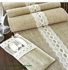 Burlap table runner wedding table runner with by HotCocoaDesign! I like the idea but my colors are gonna be white and teal so I think white burlap fabric with teal ribbon I bet I can DIY these! : Could use teal lace.Rustic chic Burlap table runner we Burlap Projects, Burlap Crafts, Diy Crafts, Sewing Crafts, Sewing Projects, Burlap Table Runners, Burlap Lace, Burlap Fabric, Deco Table