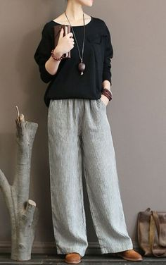 Linen Straight Pants For Women Black Stripe - Pantaloni da donna Hijab Fashion, Fashion Outfits, Womens Fashion, Fashion Trends, Linen Pants Outfit, Dress Clothes, Casual Mode, Paris Mode, Bohemian Mode