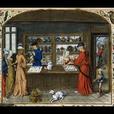 A Goldsmith's Shop. From The Lapidary of Jean de Mandeville. [note: this never century, but rather ca Bibliotheque Nationale de France, Paris. Note parchemin panelling on counter. Medieval Market, Medieval World, Medieval Manuscript, Illuminated Manuscript, Robert Campin, Illustrations, Illustration Art, Medieval Crafts, High Middle Ages
