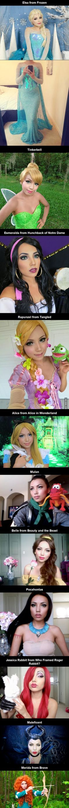 Girl dresses up as Disney Princesses