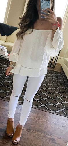 #spring #outfits  White Off The Shoulder Top + White Ripped Skinny Jeans + Nude Open Toe Booties