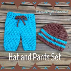 Hat and Pants Photo Prop Set by Ramsileigh Crochet