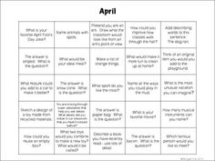 April Creativity Calendar for Elementary Classrooms!  Encourage creative thought in your classroom with a different prompt each day.  Free download!