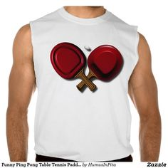 Funny Ping Pong Table Tennis Paddle With Oval Ball Sleeveless Tee
