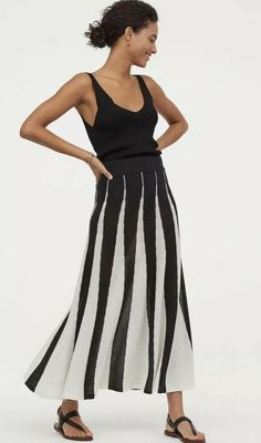 4da449a9e0 Details about H&M Jacquard Knit Skirt Black/white Size M 12/14