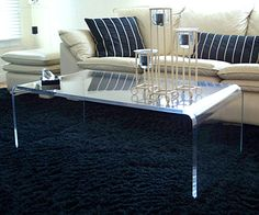 Furniture : Bent Acrylic Coffee Tables Waterfall Cocktail Table Blue Shag Rug Natural Cream Sofa Dark Blue White Stripes Pillows Swivel Side Table Basic Types Of Living Room Table Living Room Cabinets. Ikea Coffee Table, Lucite Coffee Tables, Ikea Table, Black Coffee Tables, Coffee Table Design, Modern Coffee Tables, Lucite Furniture, Acrylic Furniture, Condo Living Room