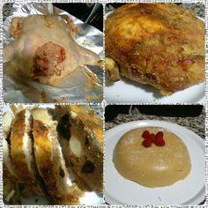 Para cena de noche vieja un buen pollo relleno y natilla colombiana.